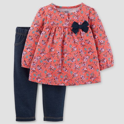 Baby Girls' 2pc Set Floral Bow - Just One You™ Made by Carter's® Coral/Navy 9M