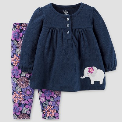 Baby Girls' 2pc Elephant Set - Just One You™ Made by Carter's® Navy/Purple Floral 6M