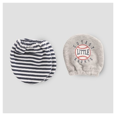 Baby Boys' 2pk Mittens - Just One You™ Made by Carter's® Gray/Navy Stripe NB