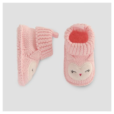 Baby Girls' Crochet Owl Booties - Just One You™ Made by Carter's® Pink NB
