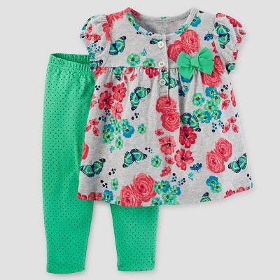 Baby Girls' 2pc Set Floral Bow - Just One You™ Made by Carter's® Pink/Green NB