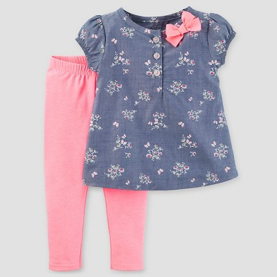 Baby Girls' 2pc Set - Just One You™ Made by Carter's® Floral Chambray/Pink 6M