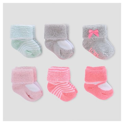 Baby Girls' 6pk Terry Cuff Socks - Just One You™ Made by Carter's® Pink/Gray 0-3M