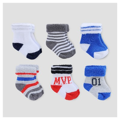 Baby Boys' 6pk Terry Cuff Socks - Just One You™ Made by Carter's® Blue/Gray/Red 0-3M