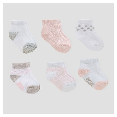 Baby Girls' 6pk Ankle Terry Socks - Just One You™ Made by Carter's® Pink/White/Gray 0-3M