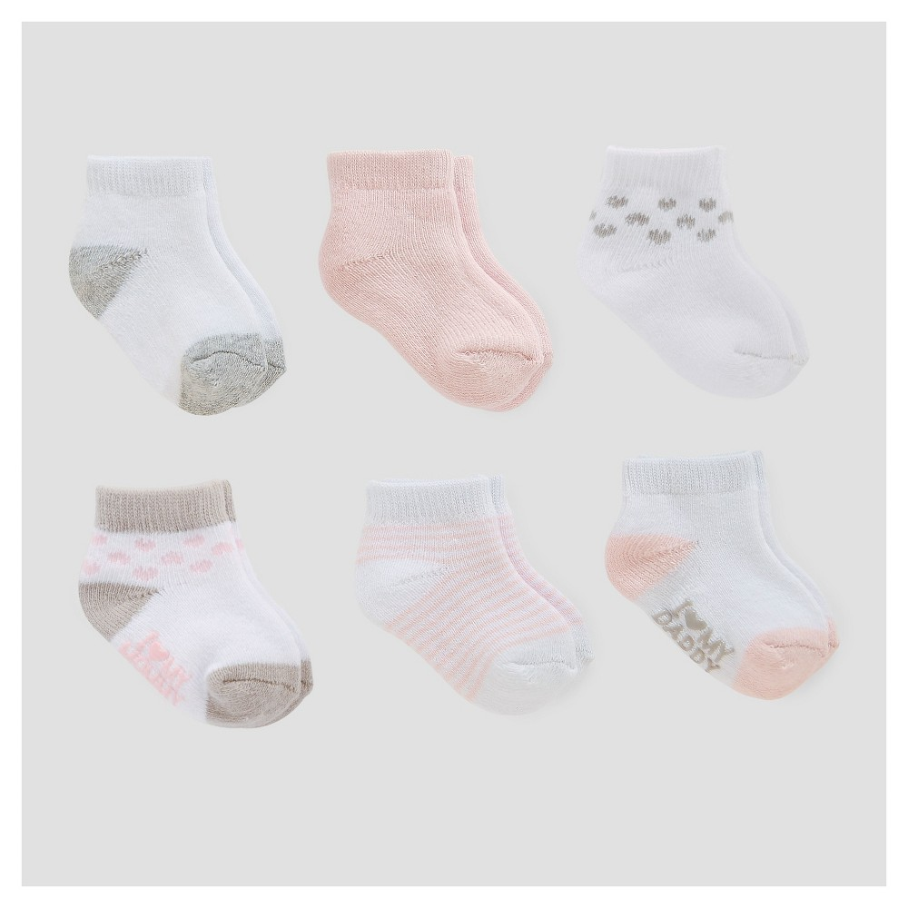 Baby Girls 6pk Ankle Terry Socks - Just One You Made by Carters Pink/White/Gray 0-3M, Size: 0-3 M, Gray Pink White