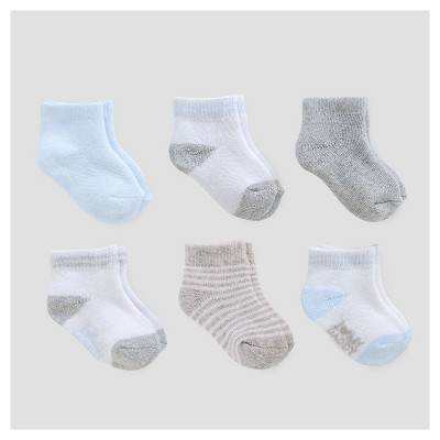 Baby Boys' 6pk Ankle Terry Socks - Just One You™ Made by Carter's® Blue/Gray/White 0-3M