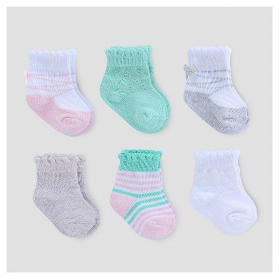 Baby Girls' 6pk Scalloped Socks - Just One You™ Made by Carter's® Pink/Gray/White 0-3M