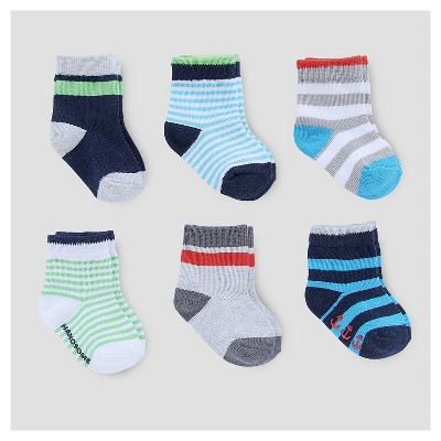 Baby Boys' 6pk Socks - Just One You™ Made by Carter's® Blue/Gray/Green/Red 3-12M