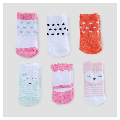 Baby Girls' 6pk Critter Socks - Just One You™ Made by Carter's® Pink/White 3-12M