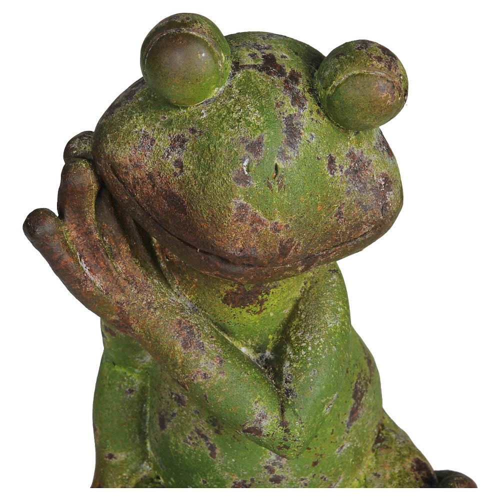 25 Large Sitting Frog Garden Statue Made Of Resin With Rustic Green Finish - Green - Sunjoy