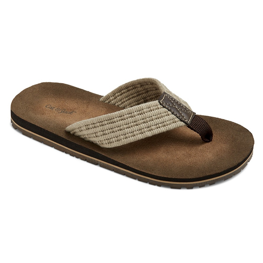 Boys Fred Thong Sandals Cat & Jack- Tan XL, Brown