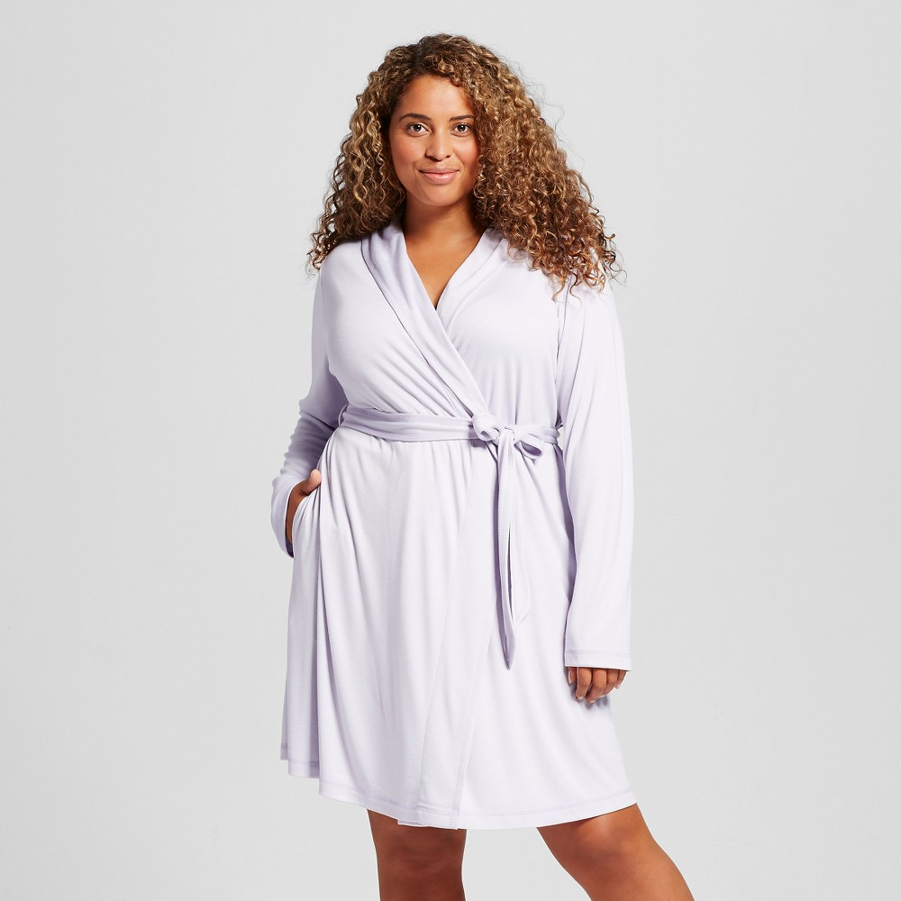 Womens Plus Size Mid Weight Robe - Airy Blue 1X