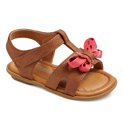 Girls' Genuine Kids® Aggy Slide Sandals With Pink Bow - Brown 4