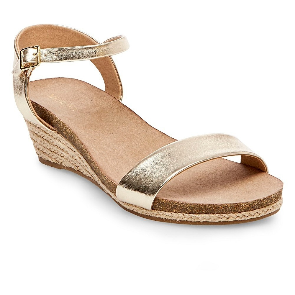 Womens Eve Wide Width Footbed Quarter Straps Wedge Sandals - Merona Gold 9.5W, Size: 9.5 Wide
