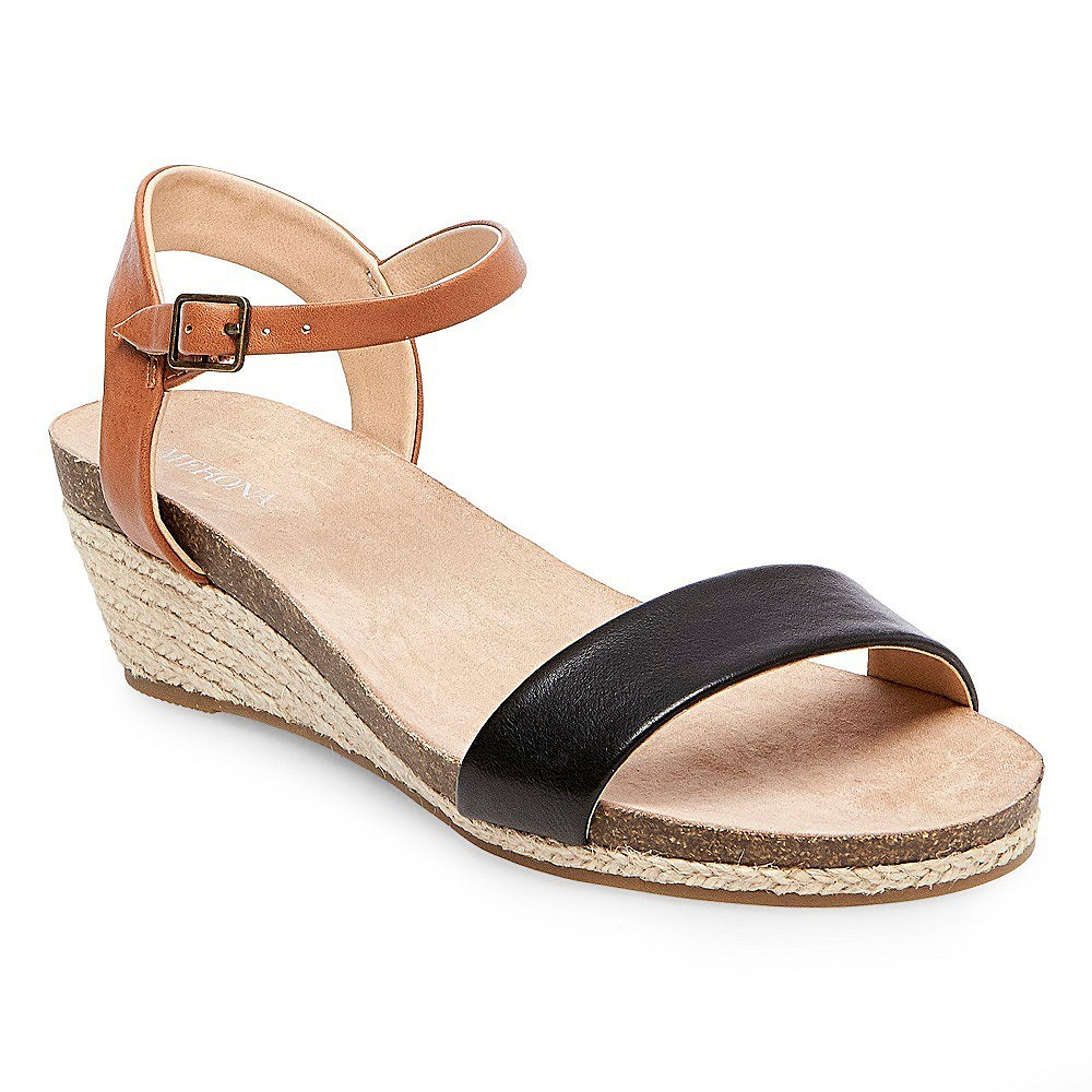 Womens Eve Wide Width Footbed Quarter Straps Wedge Sandals - Merona Black 8W, Size: 8 Wide