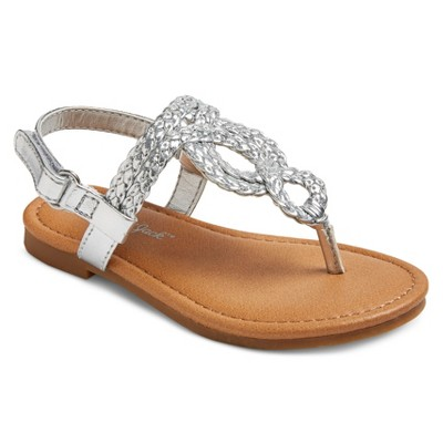 Toddler Girls' Liddie Braided Thong Sandals Cat & Jack™ - Silver 5