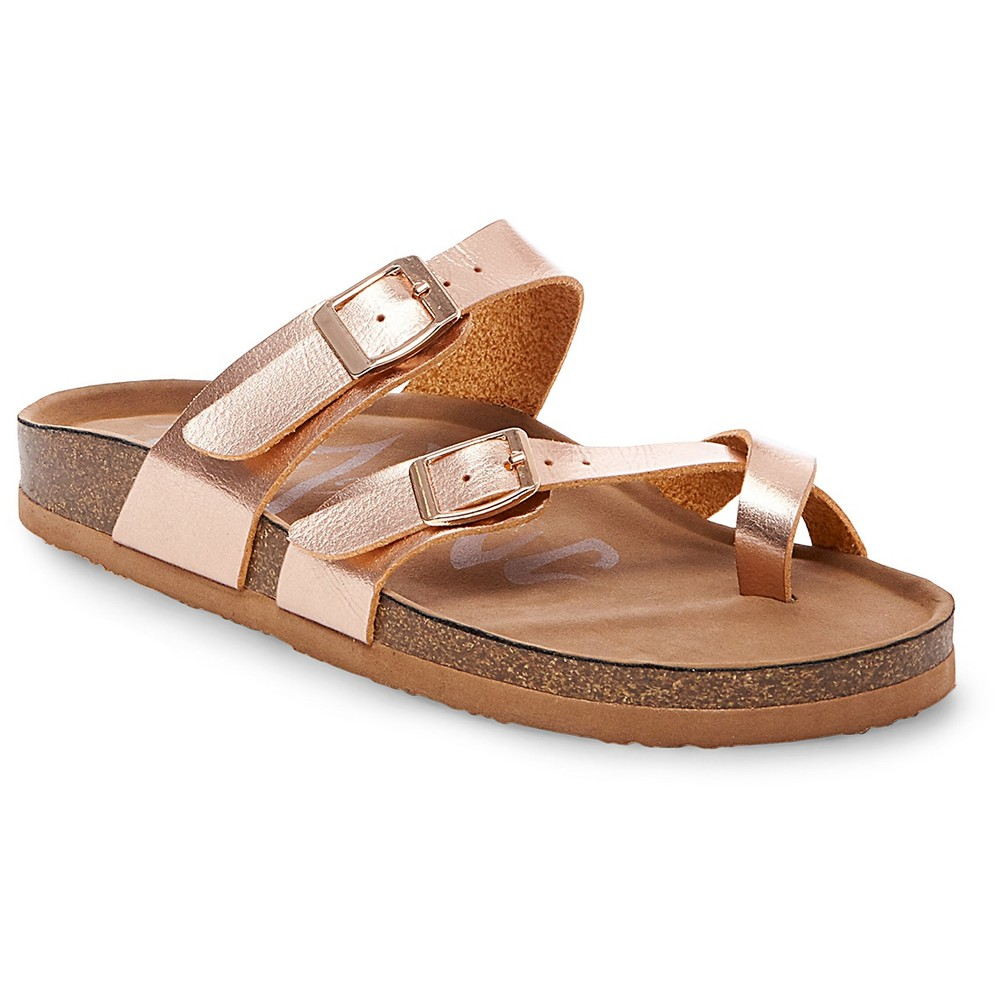 Womens Mad Love Prudence Footbed Sandals - Rose Gold 9