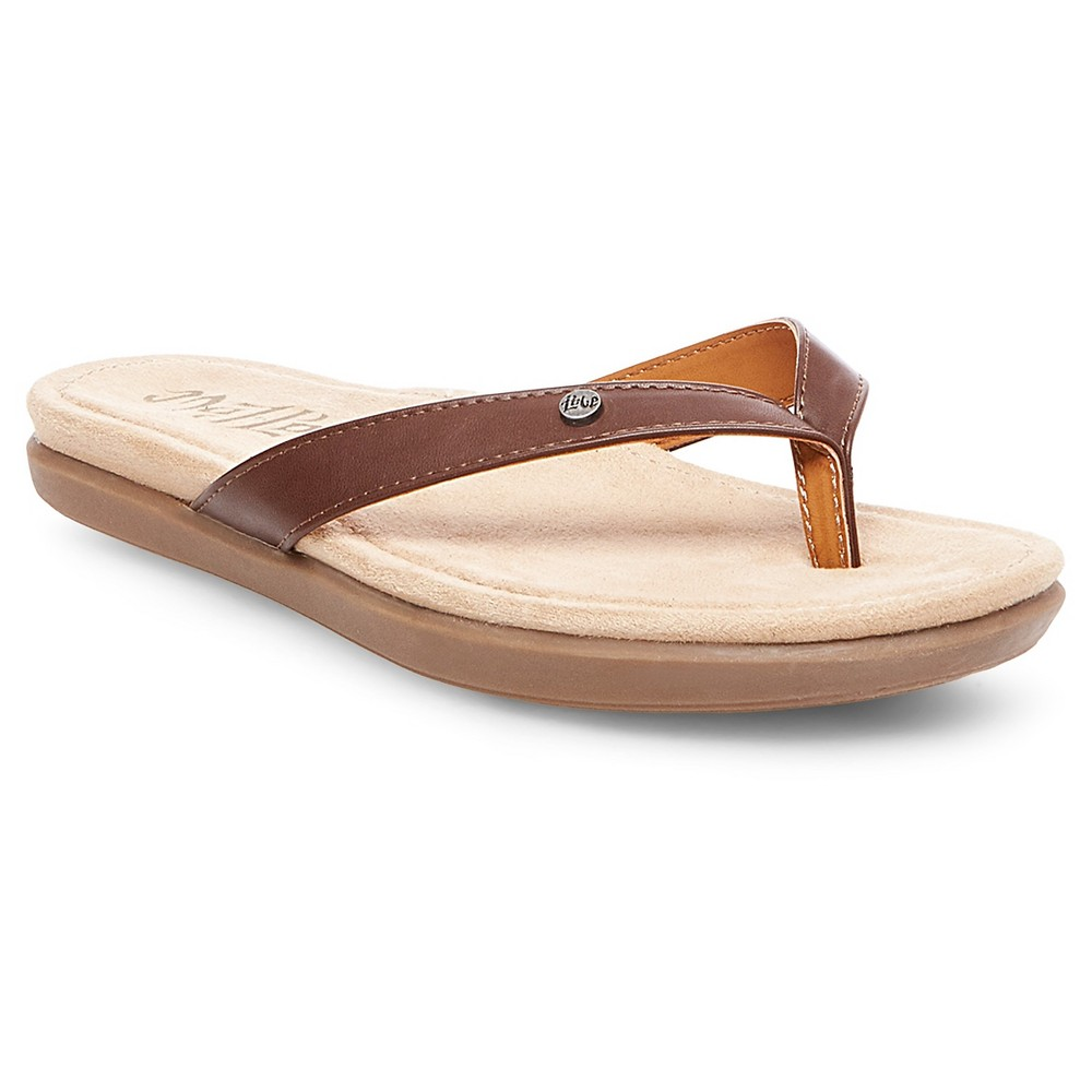 Womens Mad Love Maura Thong Sandals - Cognac (Red) 10
