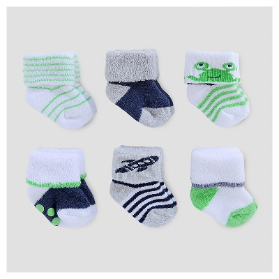 Baby Boys' 6pk Terry Cuff Socks - Just One You™ Made by Carter's® Green/Gray/Navy 0-3M