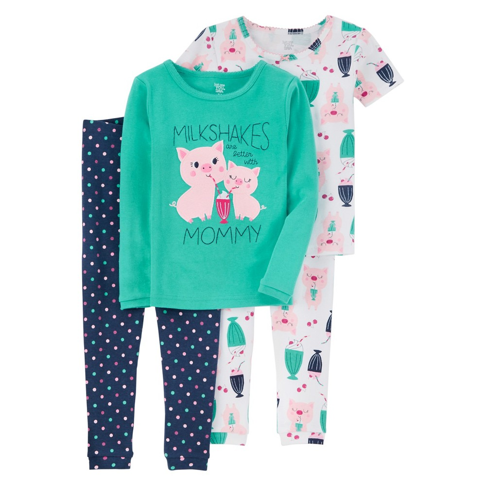 Baby Girls' 4-Piece Snug Fit Cotton Pajamas Pigs 12M – Just One You Made by Carter's, Infant Girl's, Size: 12 Months, Blue