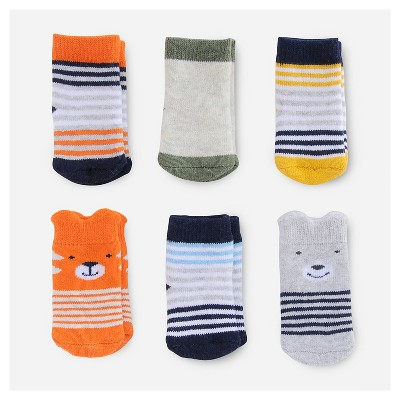 Baby Boys' 6pk Critter Socks - Just One You™ Made by Carter's® Orange/Gray/White 0-3M