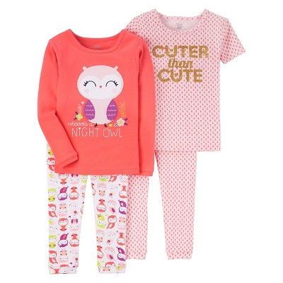 Just One You™ Made by Carter's® Baby Girls' 4pc Snug Fit Cotton Pajama - Coral Night Owl 9M
