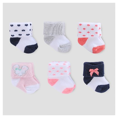 Baby Girls' 6pk Terry Cuff Socks - Just One You™ Made by Carter's® Pink/White/Navy 0-3M