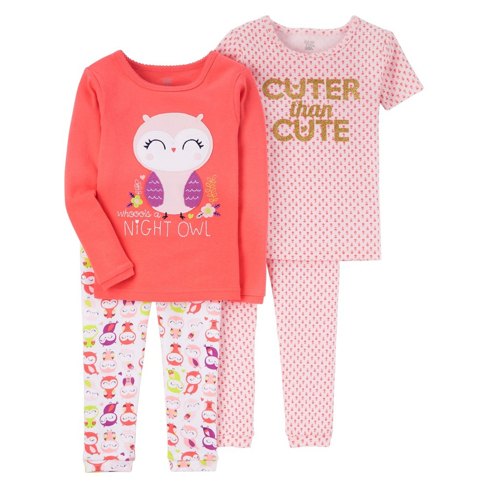 Toddler Girls' 4-Piece Snug Fit Cotton Pajamas Coral Night Owl 2T – Just One You Made by Carter's, Toddler Girl's, Pink