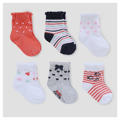 Baby Girls' 6pk Socks - Just One You™ Made by Carter's® White/Gray/Red 3-12M