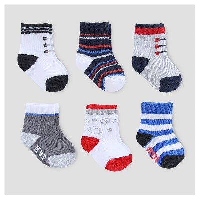 Baby Boys' 6pk Socks - Just One You™ Made by Carter's® Blue/Red/Gray 3-12M