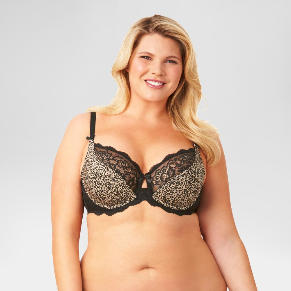 Kissed by Olga Womens Unlined Underwire Bra GI9711T - Animal Print 38D