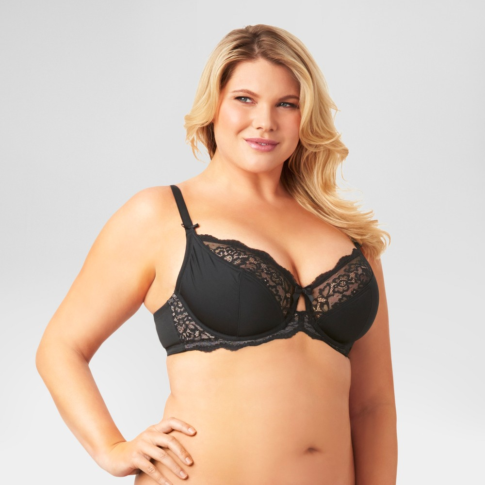 Kissed by Olga Womens Unlined Underwire Bra GI9711T - Black 38DDD