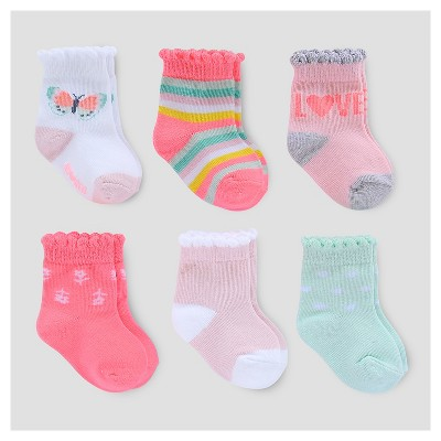 Baby Girls' 6pk Socks - Just One You™ Made by Carter's® Pink/White/Green 3-12M