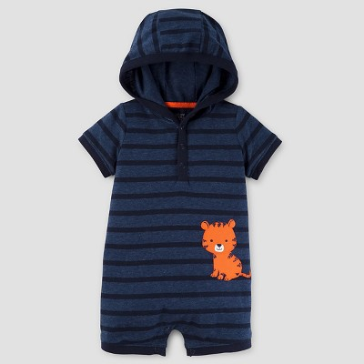 Baby Boys' Hooded Tiger Romper - Just One You™ Made by Carter's® Navy Heathered Stripe NB