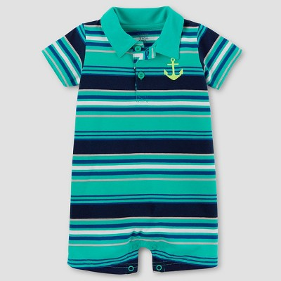 Baby Boys' Anchor Romper - Just One You™ Made by Carter's® Teal/Navy Stripe NB