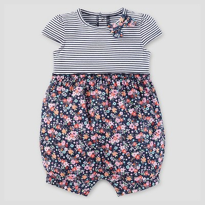 Baby Girls' Stripe/Floral Romper - Just One You™ Made by Carter's® Navy 3M
