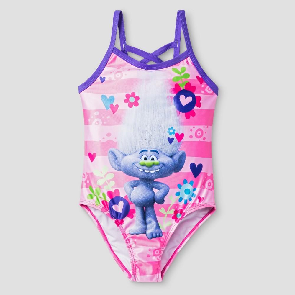 Trolls Girls One Piece Stripe Swimsuit S - Pink