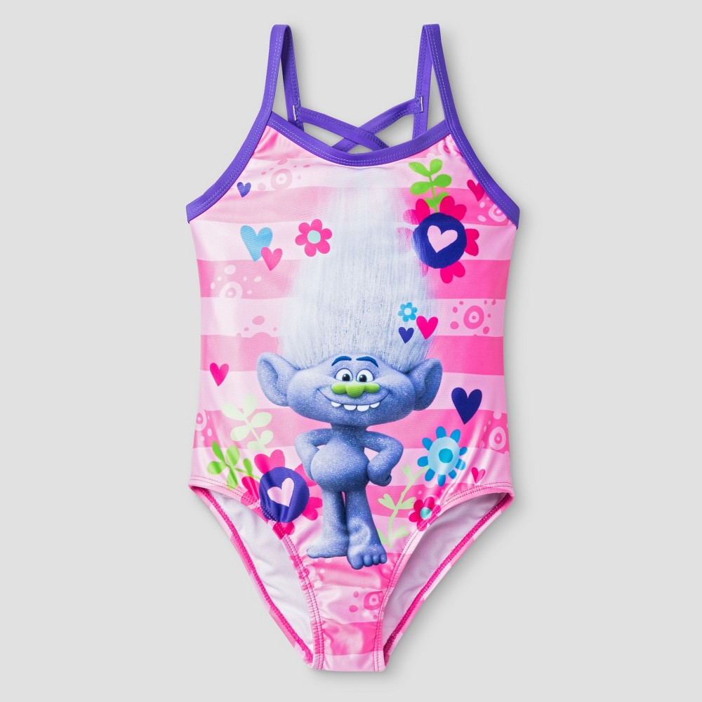 Trolls Girls One Piece Stripe Swimsuit M - Pink