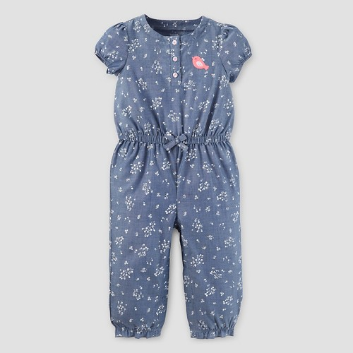 Baby Girls' Romper Chambray 18M - Just One You Made by Carter's, Infant Girl's, Size: 18 M, Blue