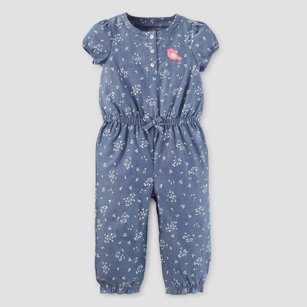 Baby Girls' Romper Chambray 6M – Just One You Made by Carter's, Infant Girl's, Size: 6 M, Blue