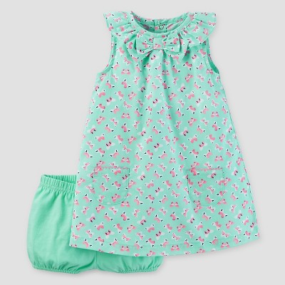 Baby Girls' Butterflies Dress - Just One You™ Made by Carter's® Mint 3M