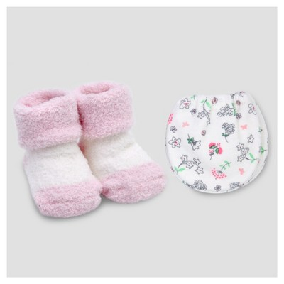 Baby Girls' Mitten and Bootie Set Pink/White NB - Precious Firsts™ Made by Carter's®