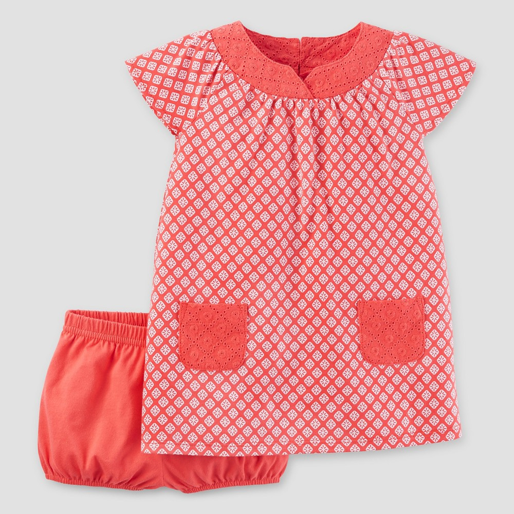 Baby Girls' Geometric Print Dress Coral 3M – Just One You Made by Carter's, Infant Girl's, Size: 3 M, Orange
