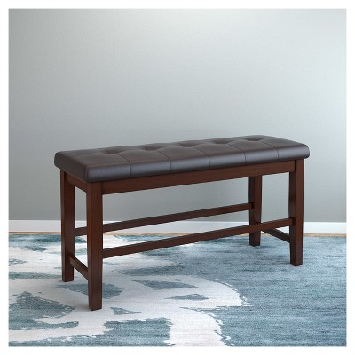 Bonded Leather Counter Height Dining Bench   Chocolate Brown   CorLiving