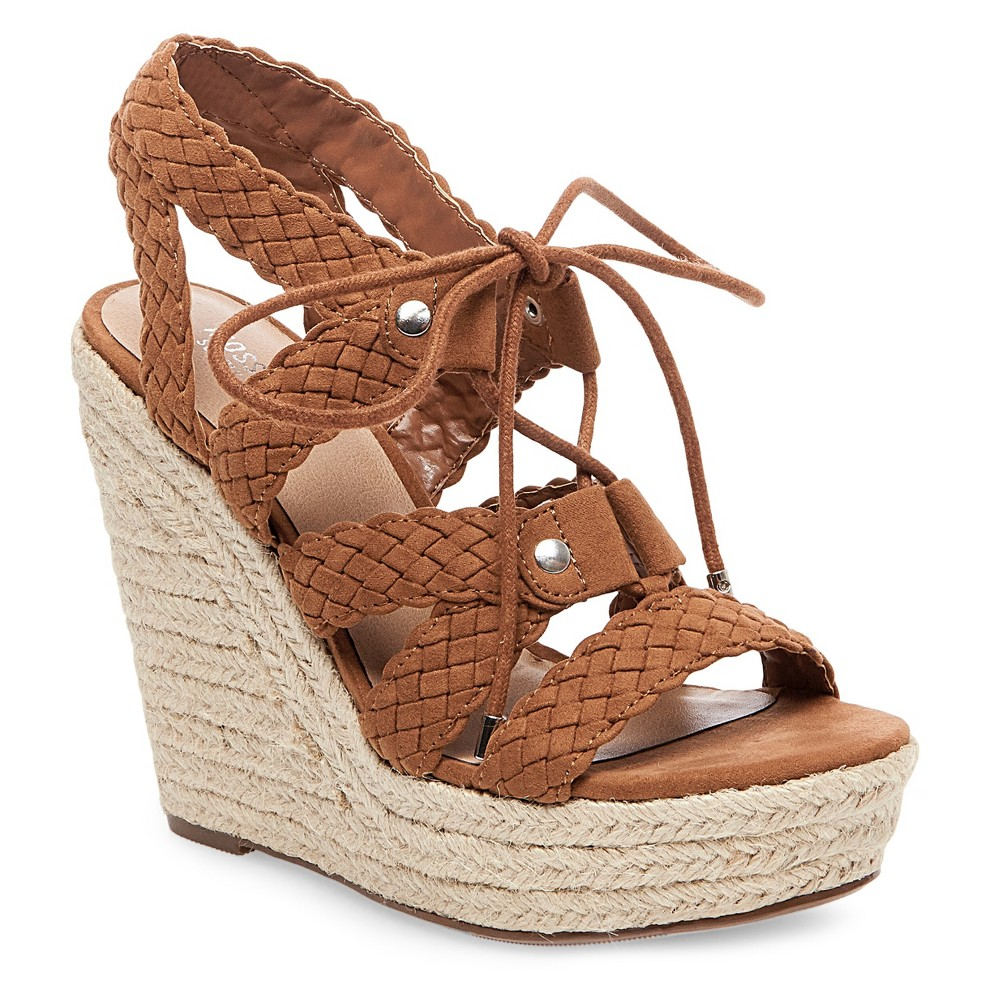 Womens Helia Platform Lace Up Espadrille Wedge Sandals - Mossimo Supply Co. Cognac 9.5, Brown
