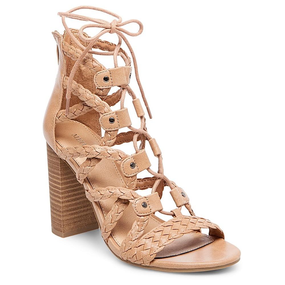 Womens Kolbi Braided Ghillie Heeled Gladiator Sandals - Merona Taupe 9.5, Gray