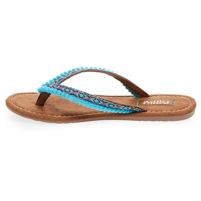 Women's Mad Love Alice Pom Pom Strap Detail Thong Sandals - Turquoise 6
