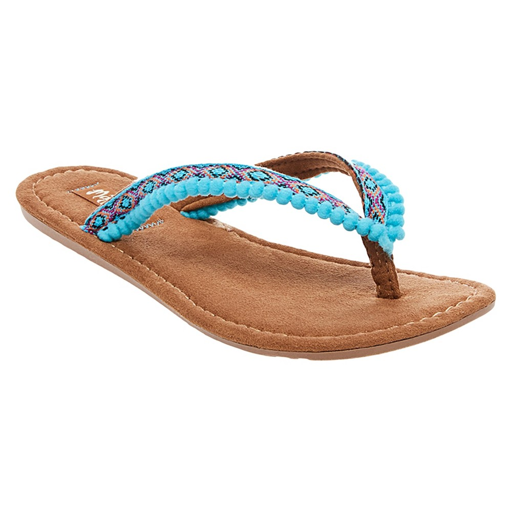 Womens Mad Love Alice Pom Pom Strap Detail Thong Sandals - Turquoise 11
