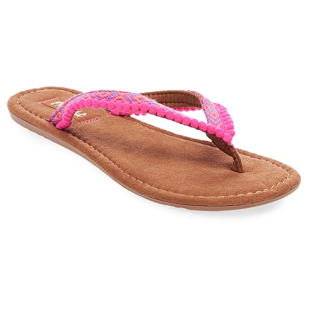 Womens Mad Love Alice Pom Pom Strap Detail Thong Sandals - Pink 10